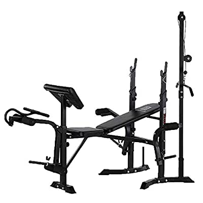 Dr.Home Professional Adjustable Squat Racks Barbell Free Bench Press Olympic Weight Benches Dumbbell Racks Multi Design from Beginner to Master (D)