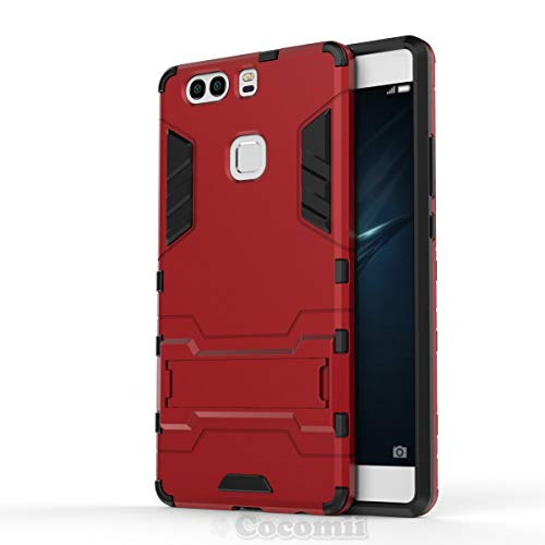 Cocomii Iron Man Armor Huawei P9 Plus Case New [Heavy Duty] Premium Tactical Grip Kickstand Shockproof Hard Bumper [Military Defender] Full Body Dual Layer Rugged Cover for Huawei P9 Plus (I.Red)