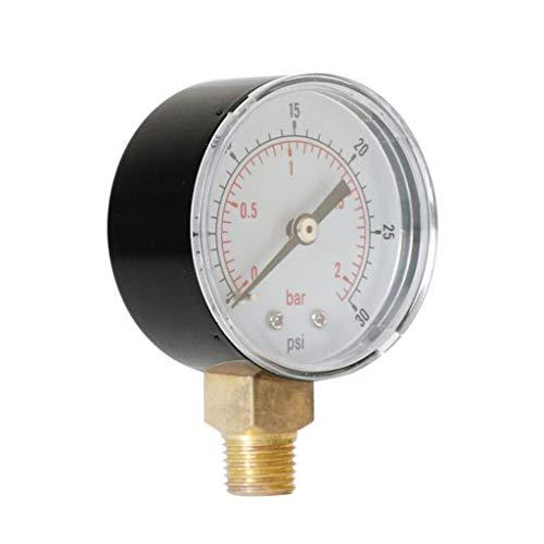 Manometer, 1/8 BSPT Anschluss von unten, 0-30PSI, 0-2Bar, passend für Druckminderer/Wasserfilter/Sandfilteranlage