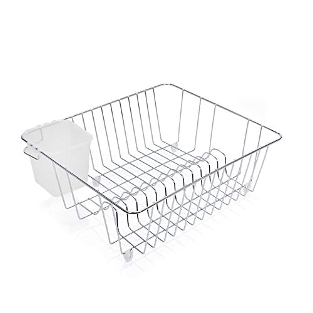 Smart Design Dish Drainer Rack w/ Cutlery Cup & Plate Dividers - Steel Metal Frame - Dishes, Cups, Silverware Organization - Kitchen (Chrome, Small - 14 x 5.5 Inch)