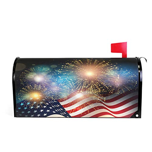 "Wamika American Flag Patriotic USA Magnetic Mailbox Cover MailWraps 4Th of July Memorial Day Firework Star Mailbox Wraps Post Box Garden Yard Home Decor for Outside Standard Size 20.8""(L) x 18""(W)"