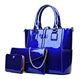 Yan Show Women's New Zipper Bag 3PCS Handbags Patent Leather Fashion Shoulder Bag Large Capacity Handbag, Blue
