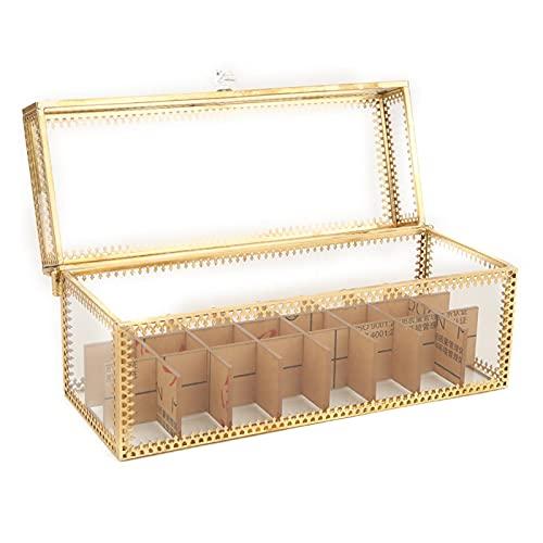 KAKAKE Caja de Almacenamiento, Caja de Almacenamiento de cosméticos Organizador de cosméticos con Borde Dorado para decoración de Escritorio para Duradero