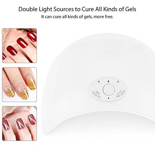 Nagellamp, UVLED nageldroger voor het uitharden van nagelgellakken met Smart Sensor Nail Art Tools (wit)