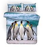 REALIN Fundas Nórdicas Bebé Pingüino Juego De Ropa De Cama Antártico Hielo Y Nieve Colcha 2/3/4PCS Fundas De Edredón Nórdico/Almohada/Sábanas,para Cama 90/135/150/180 (Cama 150/160(220×230cm)-4PCS,E)