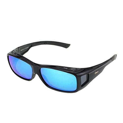 Duco Herren und Damen Sonnenbrillen Polarisiert Unisex Brille Überbrille für Brillenträger Fit-over Polbrille 8954 L-Schwarz, Revo Blau