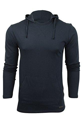 Herren Hoodie T-Shirt von Brave Soul 'Morris', langärmlig (Dark Navy) S