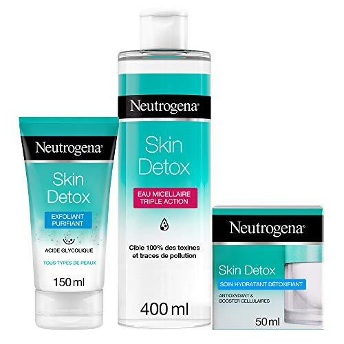 Neutrogena Skin Detox Routine Hydratante Quotidienne 3 Etapes, Crème Hydratante 50ml, Eau Micellaire 400ml et Exfoliant Visage 150ml