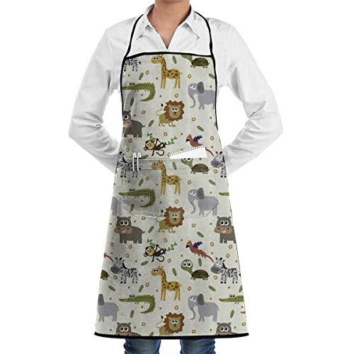 Yuanmeiju Safari Lion Elephant Crocodile Funny Delantal Chef Kitchen Cooking Delantal Bib