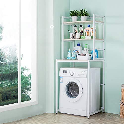 Support de rangement à 3 couches pour lave-linge - Tablette de service en métal - Support de rangement pour toilette de buanderie - Étagère de rangement Cubby - Machine à laver à tambour-Blanc-Noir