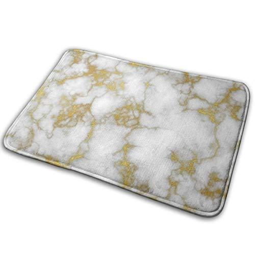 Jujupasg - Alfombrilla de baño de felpa con respaldo antideslizante, mármol dorado y blanco (24' x 16')