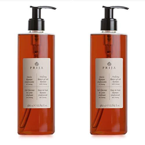 Prija Haut & Haarshampoo mit Ginseng 2x 380 ml Duschgel Hair & Body Flakon 2x Pumpspender - Duschgel für Herren Männer & Duschgel für Damen Frauen
