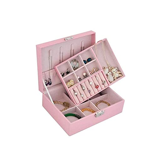 Caja organizadora de joyería de Viaje Caja de Almacenamiento de joyería portátil Accesorios Bolsa de Soporte con Piel sintética Ambiental para Pendientes, lápiz Labial, Collar (Color: Rosa)