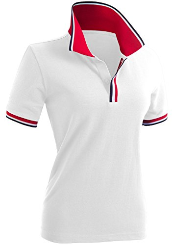 CLOVERY Women's Casual 2-Button Short Sleeve Polo Shirts White US M/Tag M