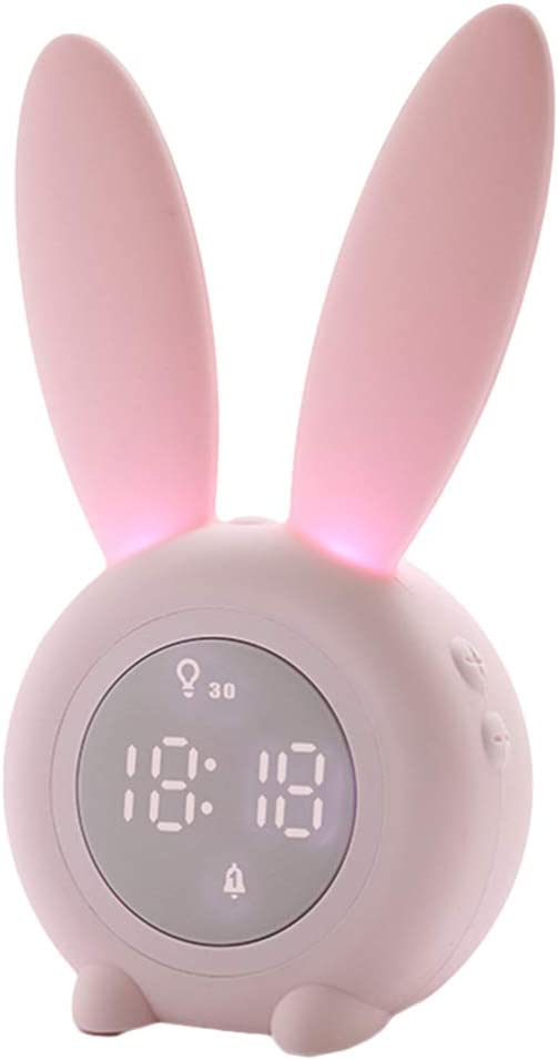 Garneck Decoración del Hogar Reloj Multifuncional Reloj de Alarma con Forma de Conejo Lindo Reloj Despertador Rosa para Dormitorio Habitación de Niños Oficina (Rosa)