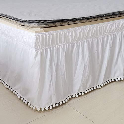 YYQQ Falda de Cama de Hotel Envolvente Camisas de Cama elásticas sin Superficie de Cama 38 cm de Altura para decoración del hogar Blanco (Color : White, Size : 153X203)