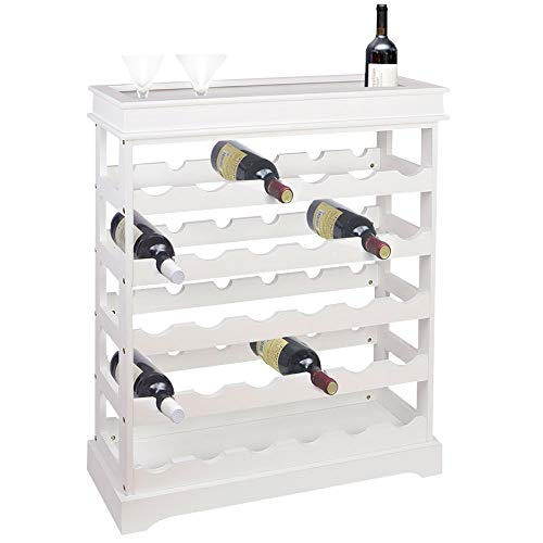BAKAJI Mueble esquinero para Bar, botellero de Vino, 30 plazas, de Madera, botellero para casa, Bar, Restaurante, con Estante Superior. Dimensiones: 70 x 70 x 23 cm. Diseño Moderno Blanco
