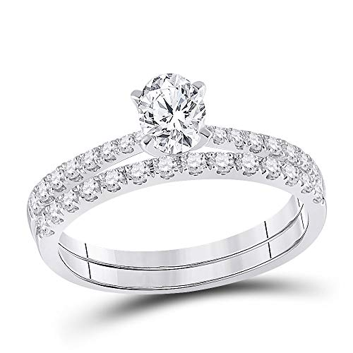 Diamond2Deal Hombre Mujer Unisex oro 14 quilates (585) oro blanco 14 quilates (585) oval-shape G-H Diamante blanco