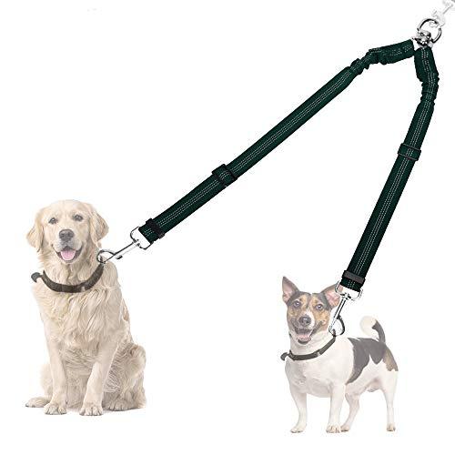 Doppelleine Hundeleine für 2 Hunde, Keine Verwicklung Doppelte Hundeleine das Lauftraining 360 ° drehbar Reflektierend Verstellbare Länge Zwei-Hundeleinen-Splitter Komfortable stoßdämpfende (Grün)