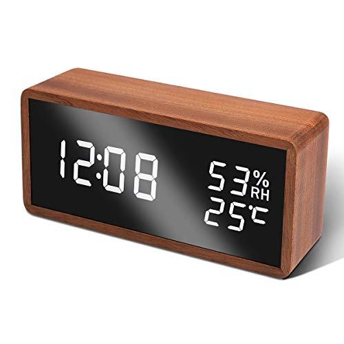Unionup LED Wecker Digitaler Wecker, Tischuhr mit Temperatur und Luftfeuchtigkeit, Digital Uhr Holzwecker Uhr für Zuhause, Schlafzimmer, Kinderzimmer und Büro