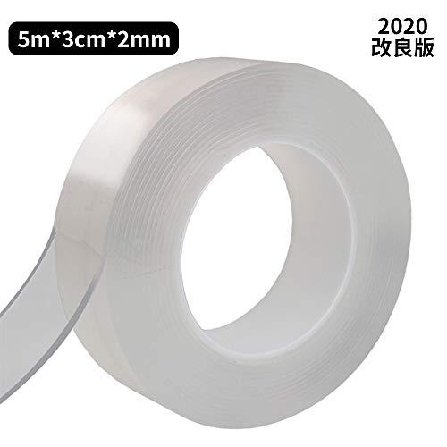 滑り止め 超強力 透明 両面テープ?Mreechan 5m 洗濯可能 繰り返し利用 多機能 多用途 固定テープ 家具 壁紙 カーペット留め 伸縮性 魔法テープ