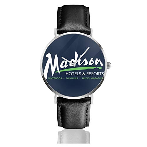 Billy Madison Radisson - Reloj unisex para negocios, estilo informal, con correa de piel negra, para hombres y mujeres, colección joven, regalo