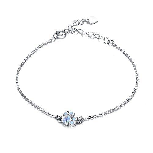 Luna Azure 925 Sterling Silber Katzenpfote Mondstein Armband Armreif Bracelet 3,14