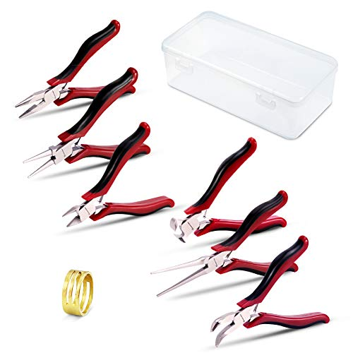 SPEEDWOX Juego de alicates para bisutería, 6 piezas, juego de alicates pequeños y finos con un abrelatas de anillo de microprecisión, herramientas de mano de calidad, acero al cromo vanadio