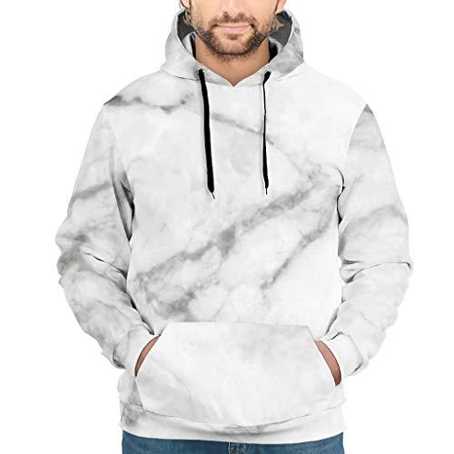 Lind88 Sudaderas unisex con textura de mármol personalizable, estilo moderno, blusa blanca XL