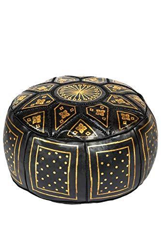 Orientalischer runder Pouf aus Leder ø 45cm Rund 30cm Hoch inklusive Füllung | Marokkanisches Sitzkissen Sitzpouf Kissen Merzougha Schwarz Gold | Marokkanischer Hocker Sitzhocker Fusshocker