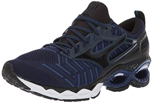 Mizuno Men's Wave Creation 20 Knit Running Shoe, Dress Blue-Black, 12 D US