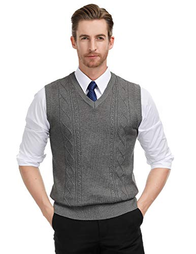 Paul Jones Men's V-Neck Knitting Vest Sleeveless Pullover Sweater XL Dark Grey