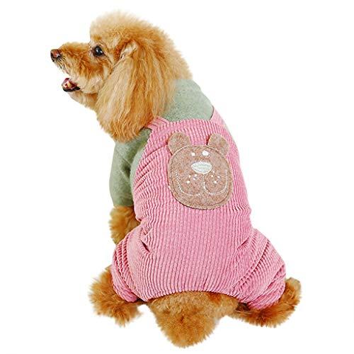 BBring Bär Gemustert Latzhose für Katzen Hunde, dicken Patchwork Hundemantel Warm Winterpullover Haustier Kleidung Hundekleidung für Kleine Hunde...