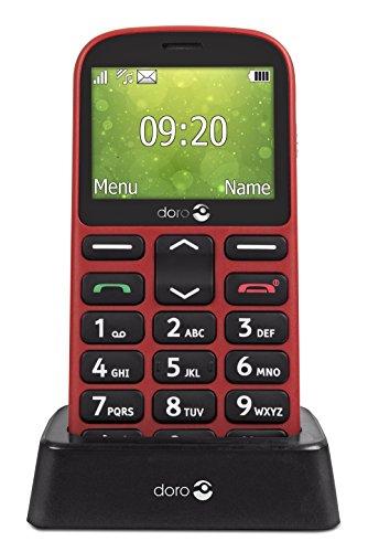 Doro 1360 Telefono Cellulare 2G Dual SIM per Anziani con Fotocamera, Pulsante d'Emergenza e Base per Ricarica [Versione Italiana] (Rosso)