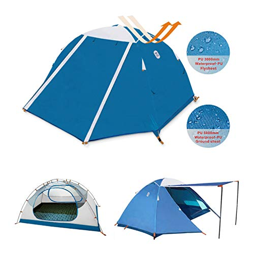 Zenph Trekking Zelt 2 Personen Camping 5000 Pu Wasserdicht 4 Saison Zelt,Ultraleicht Zelte Mit Kleinem Packmaß, Camping Zelt Für Trekking, Sun Shelter,Outdoor, Festival.