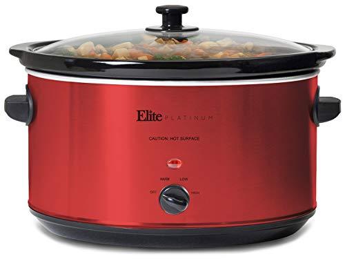 Elite Gourmet MST-900R Slow Cooker, 8.5 Quart, Red