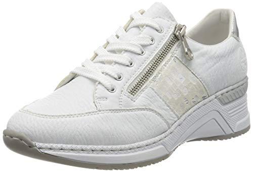 Rieker Frühjahr/Sommer N4322, Sneakers Basses Femme, Blanc (Weiss/Weiss-Silber/Argento/ 80 80), 37 EU