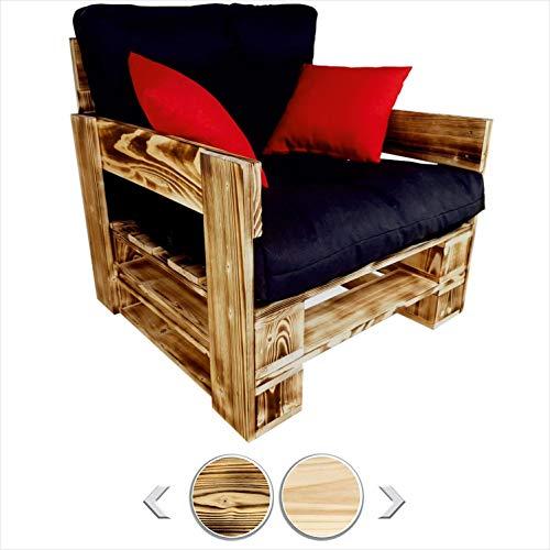 sunnypillow palettenmöbel Europaletten Indoor und Outdoor Lounge gartenmöbel Holz gartenmöbel Set Lounge möbel Terrasse Balkon loft Stil Paletten Palette geflammte Sessel 80 x 60 cm Höhe : 30 cm