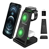 Detachable 3 in 1 Wireless Charger Stand,Kertxin Qi-Certificated Wireless Charging Station for Apple Watch 6/5/4/3/2/SE,Airpods Pro,iPhone 12/11/XR/XS Max/Xs/X/8P/8,Samsung S20/ Note 10/S9/S8