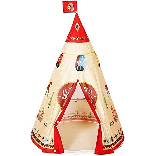 Tent, voor kinderen rode Indian conische hut tent spel huis kamp binnen en buiten met handtas