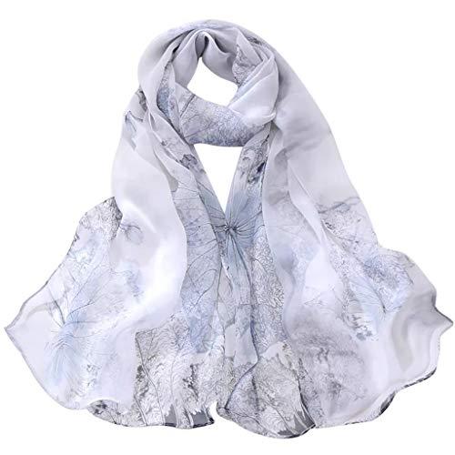 CAOQAO Damen Mode Lotus dünnes Seidenschal Schal lange weiche Schal Schals Elegantes Design