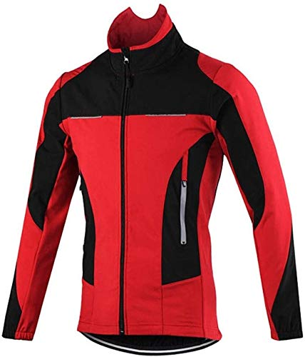 LCSA Quick Drying Cycling Clothes, Mountain Bike Jacket Men, Wind and Waterproof Fleece Long Sleeve Cycling Jacket (Color : Rot, Size : XXL)