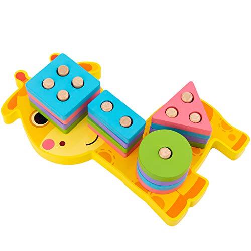 SY-Home Bois d'éducation préscolaire Jouets d'enfants Forme Couleur Tri Bloc Puzzles pour garçons et Filles,Giraffe