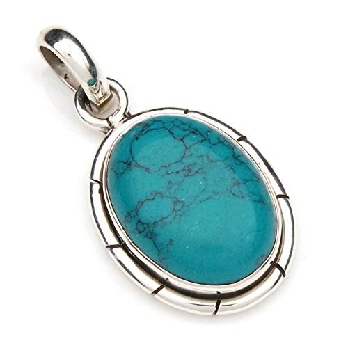 Kettenanhänger Amulett Silber 925 Sterlingsilber Türkis blau grün Stein (Nr: MAH 60-15)