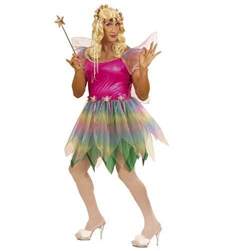 Party-Teufel® Komplett Kostüm Regenbogen Fee für Männer mit Kleid Flügel Blonde Perücke Blumen-Haarkranz Zauberstab Einheitsgröße Drag Queen Junggesellenabschied