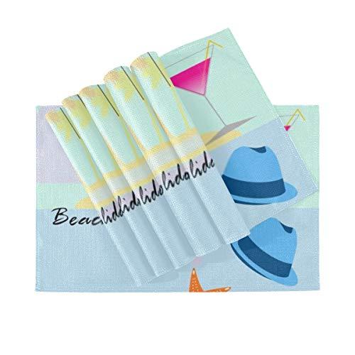 SUUJ Juego de 6 manteles Individuales, manteles Individuales Lavables con Aislamiento térmico, sombrilla de Playa, Sombrero, Chanclas, cóctel, 18 x 12 Pulgadas