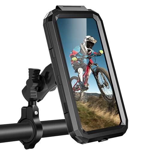WACCET Fahrrad Handyhalterung Universal, [New Generation] Motorrad Fahrrad Lenker Handy Halterung 360° Drehen Verstellbare Fahrrad Handyhalter Wasserdicht Für 3,5-6,8 Zoll Smartphone (Schwarz, L)