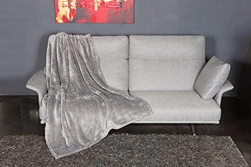 KANGURU Manta Fluffi de Microfibra Efecto Piel Gris 130 x 170 cm