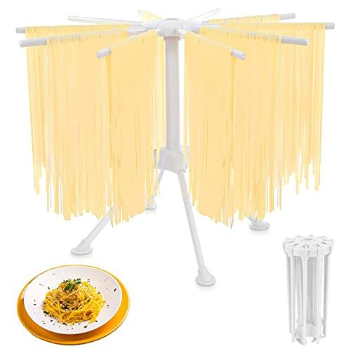 KDWOA Secador de Pasta,Estante de Secado de Pasta Plegable,Secador de Pasta Fresca con 10 Asas de Barra Plegables,hasta 2 kg de Pasta,Fácil de Almacenar,Rápido de Instalar(Blanco)