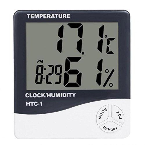 Amuzocity Termómetro Digital Higrómetro Despertador Termo Higrómetro con Reloj,